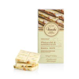 Tablette de chocolat blanc aux noisettes du Piémont IGP, amandes et pistaches légèrement salées gr.100